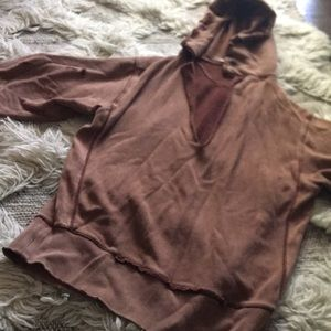Distressed light brown Free People hoodie